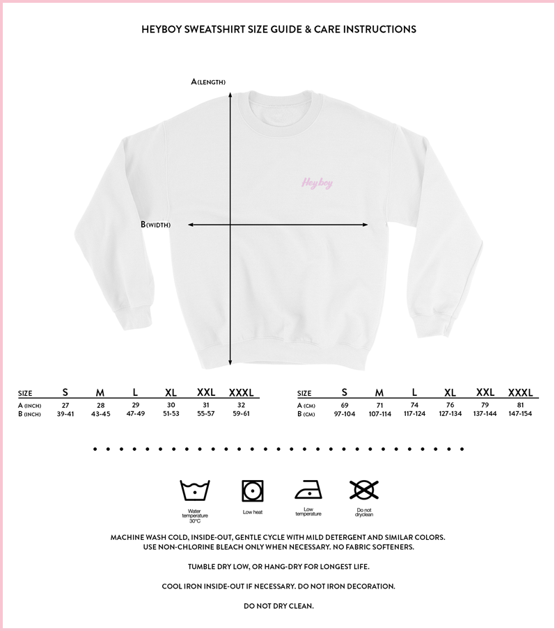 Heyboy LGBTQ Sweatshirt size and care