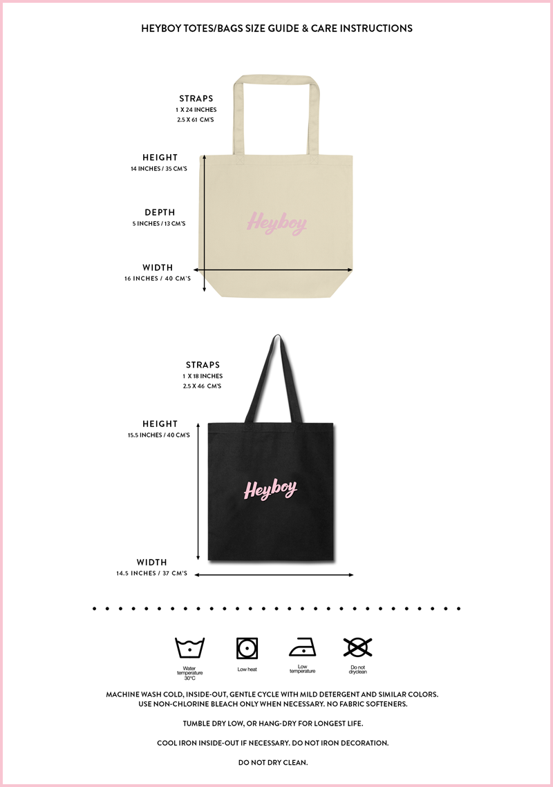 Heyboy LGBTQ totes and bags size and care