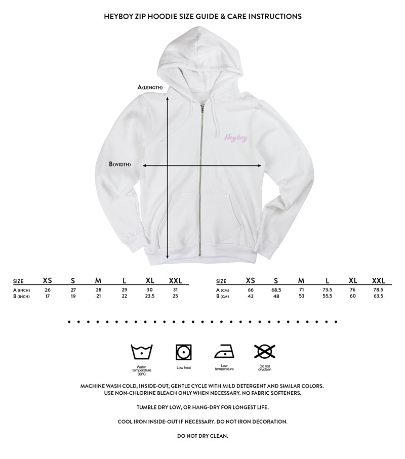 Heyboy Zip Hoodie size and care