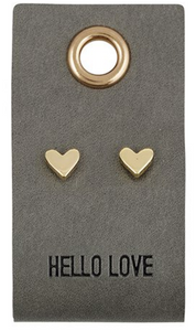 Leather Tag Earrings-Heart