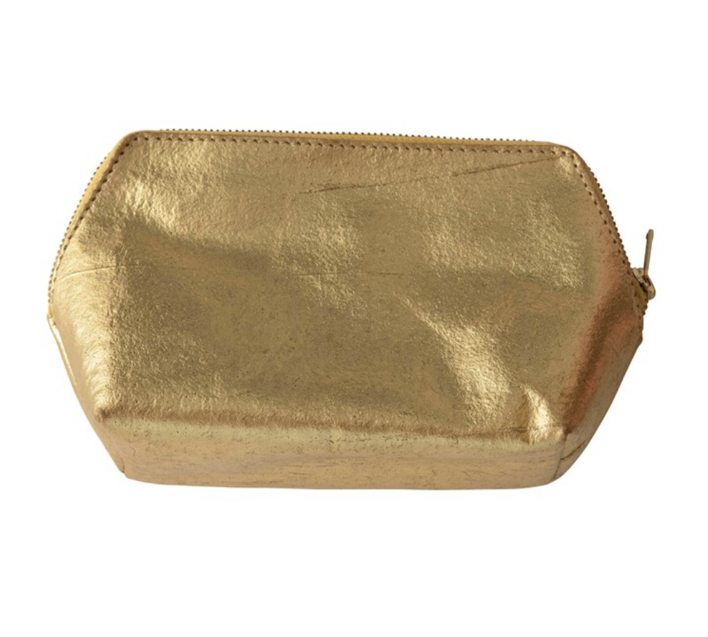 Recycled Leather Gold Zip Pouch