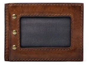 Leather Front Pocket Wallet/Hickory