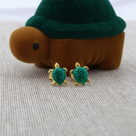 Green turtle earrings with matching turtle gift box