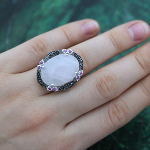 Large pink gemstone cocktail ring