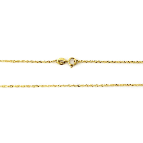 Beauniq 10k Yellow Gold 1.0mm Singapore Chain Necklace, 16""