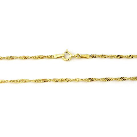 "Beauniq 10k Yellow Gold 2.3mm Singapore Chain Adjustable Anklet, 9""-10"""
