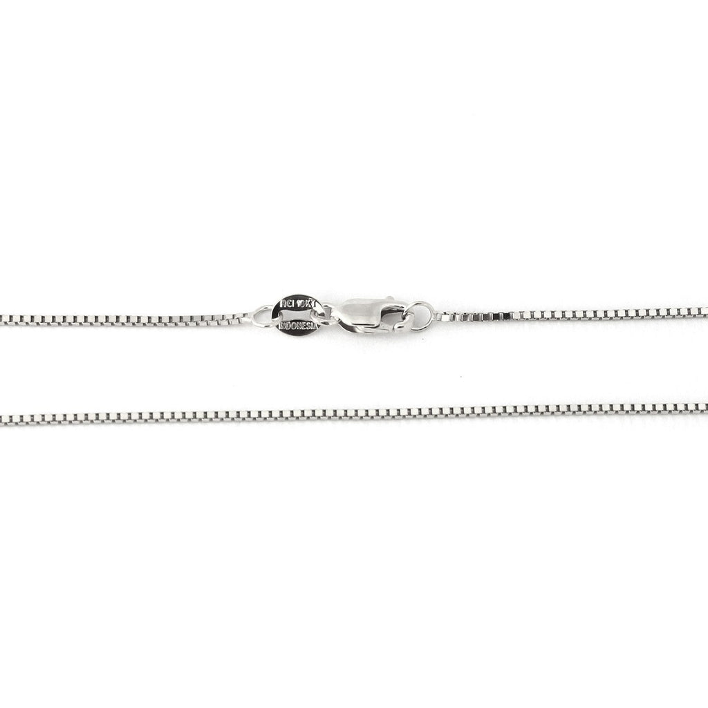 10k White Gold 0.80mm Box Chain Necklace, 24""