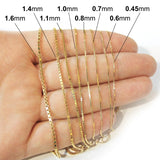 10k Yellow Gold 1.4mm Box Chain Necklace, 18""