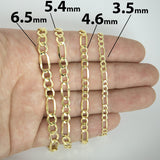 Men's 10k Yellow Gold Lightweight Figaro 3.5mm Chain Necklace, 18""