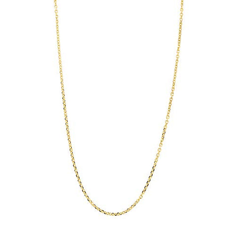 Beauniq Solid 14k Yellow Gold 0.85mm Diamond Cut Cable Chain Necklace