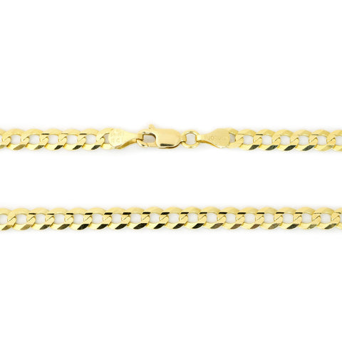 Unisex Solid 10k Yellow Gold Comfort Cuban Curb 2.6mm Chain Necklace, 18""