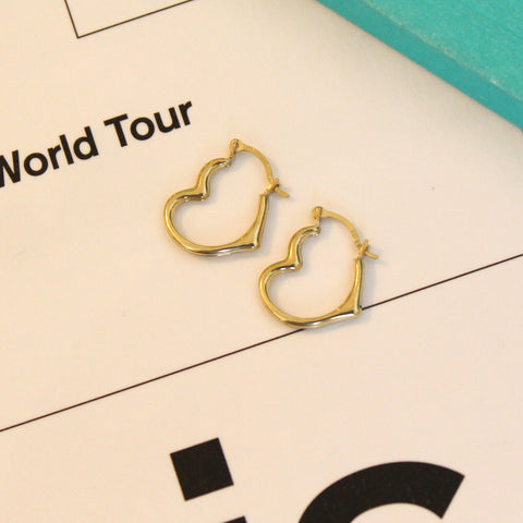 10k Yellow Gold Sideways Heart Hoop Earrings, 16mm (5/8 in)