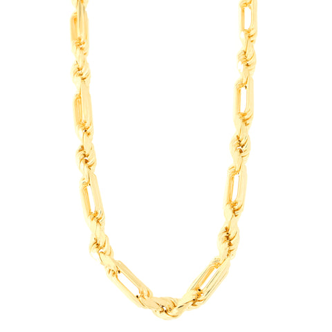 Men's 14k Yellow Gold Diamond Cut Figarope Chain Necklace or Bracelet