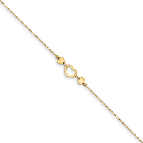 14k Yellow Gold Polished Triple Hearts Cable Chain Anklet, 10 Inches - 10.75 Inches