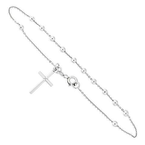 Solid Sterling Silver Rhodium Plated Rosary Bracelet with Cross Charm