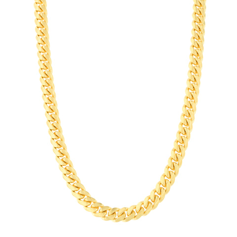 Men's 14k Yellow Gold 4.0 Millimeter Classic Miami Cuban Link Chain Necklace Box Clasp, 22 Inches