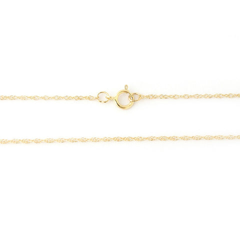Beauniq 14k Yellow Gold 1.1mm Rope Chain Necklace, 16""