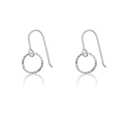 Solid Sterling Silver Rhodium Plated Hammered Open Circle Dangle Earrings
