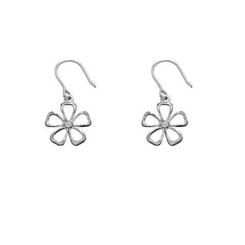 Solid Sterling Silver Rhodium Plated Daisy Flower Dangle Earrings