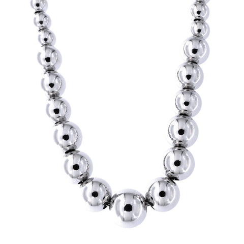 Sterling Silver Rhodium Plated Lightweight 5mm-9mm Graduated Bead Necklace, 17""