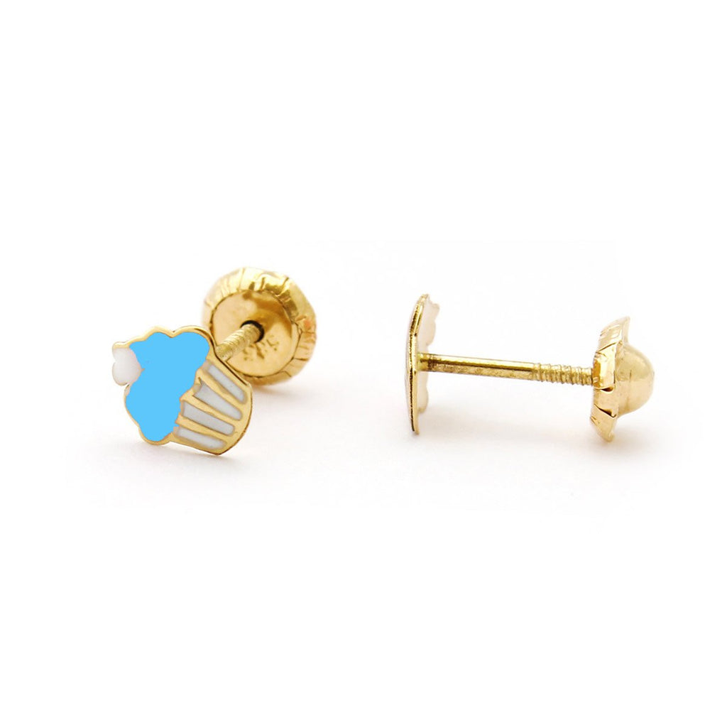 14k Yellow Gold Blue and White Enamel Cupcake Stud Earrings with Child Safe Screwbacks