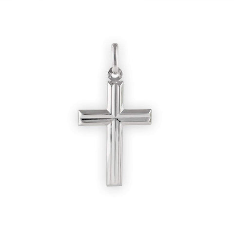 Men's Solid Sterling Silver Rhodium Plated Cross Pendant