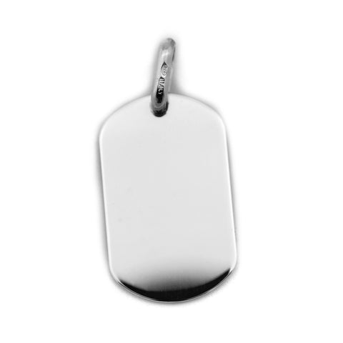 Beauniq Men's Solid Sterling Silver Heavy Dog Tag Pendant