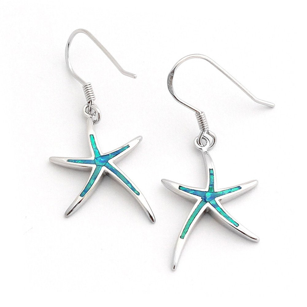Solid Sterling Silver Rhodium Plated Simulated Blue Opal Inlay Starfish Dangle Earrings