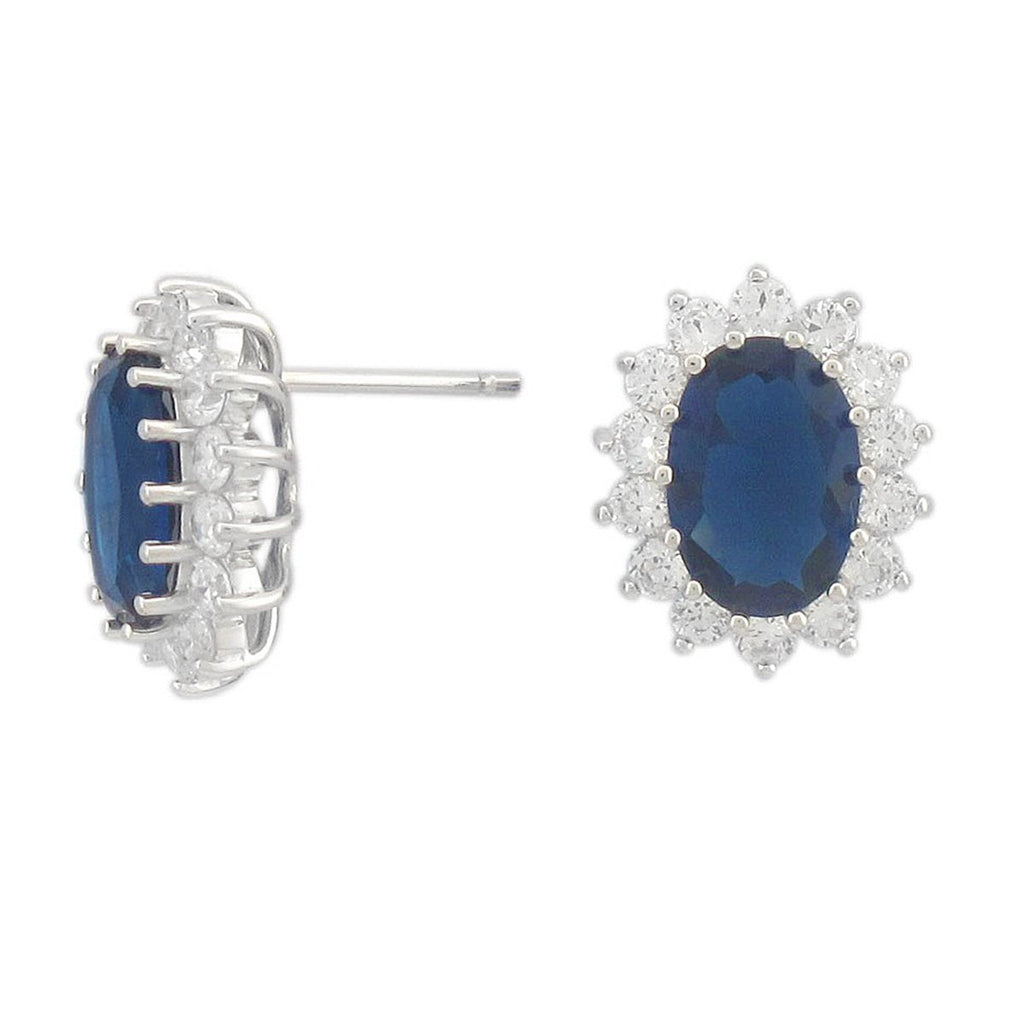 Solid Sterling Silver Rhodium Plated Simulated Blue Sapphire and Cubic Zirconia Stud Earrings