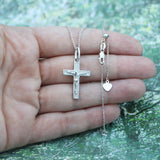Solid Sterling Silver Rhodium Plated Crucifix Cross Pendant on Adjustable Cable Chain Necklace, up to 22""
