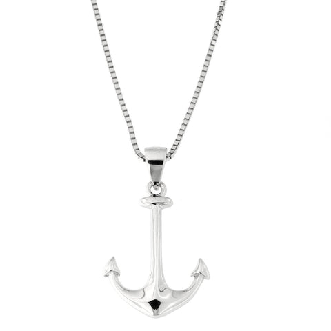 Solid Sterling Silver Rhodium Plated Anchor Pendant on Adjustable Box Chain Necklace, up to 22""