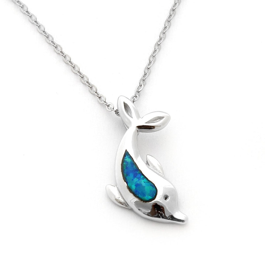 Sterling Silver Rhodium Plated Blue Inlay Simulated Opal Diving Dolphin Pendant Necklace, pendant only