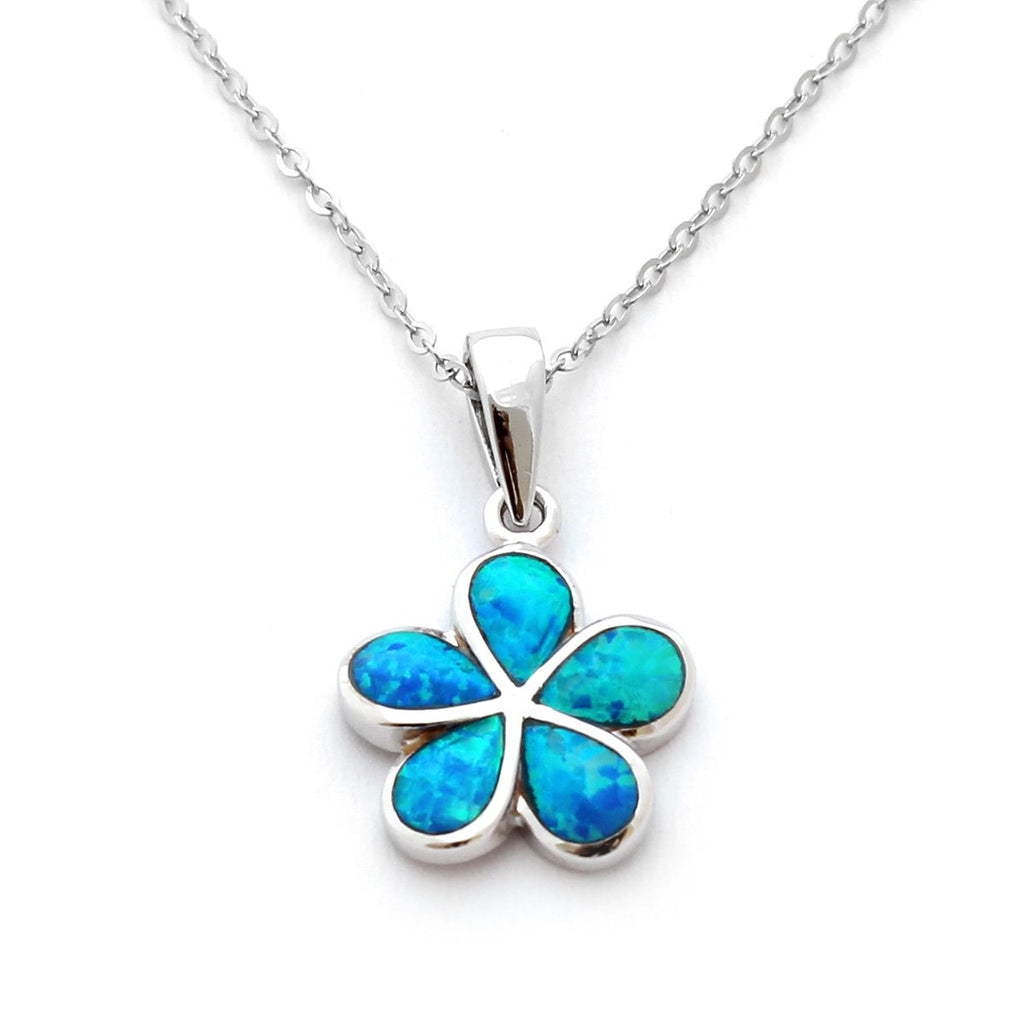 Solid Sterling Silver Rhodium Plated Blue Inlay Simulated Opal Hawaiian Flower, pendant only