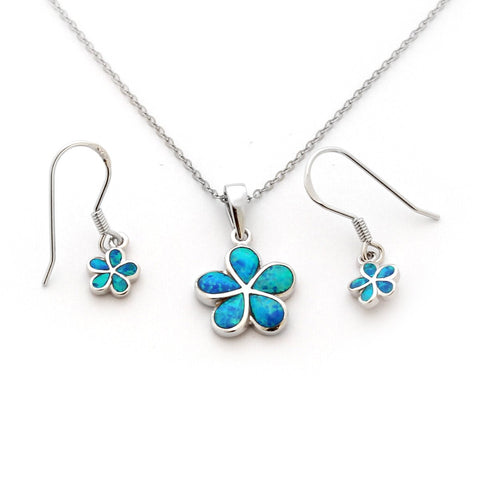 "Solid Sterling Silver Rhodium Plated Blue Inlay Simulated Opal Hawaiian Flower 16"" Necklace Earrings Set"