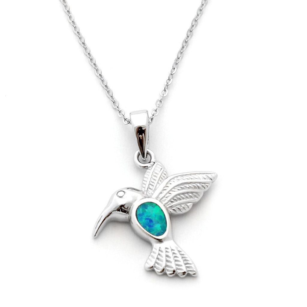 Solid Sterling Silver Rhodium Plated Blue Inlay Simulated Opal Hummingbird Pendant Necklace, pendant only