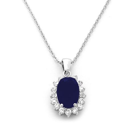 Sterling Silver Rhodium Plated Simulated Blue Oval Sapphire and CZ Halo Pendant Necklace, pendant only