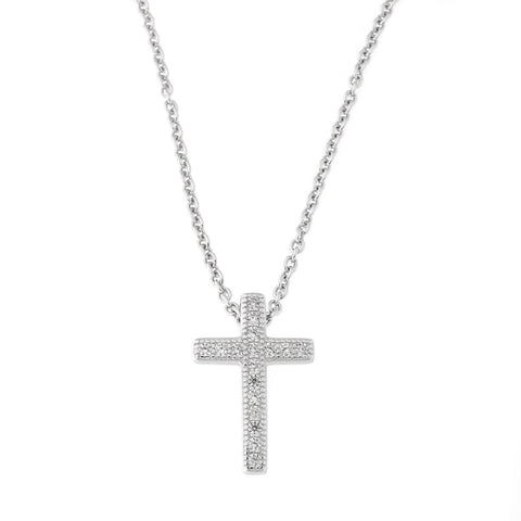 Beauniq Solid Sterling Silver Rhodium Plated Cubic Zirconia Cross Pendant