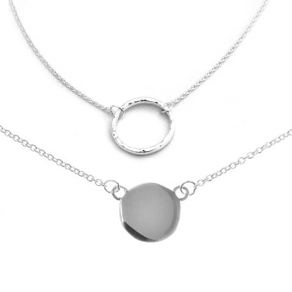 Solid Sterling Silver Rhodium Plated Delicate Open Circle and Disc Necklace Set