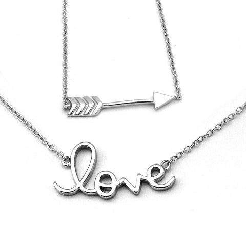 Beauniq Solid Sterling Silver Rhodium Plated Arrow Love Necklace Set