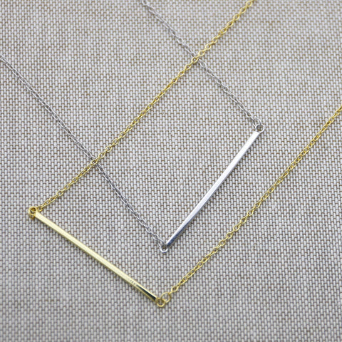 "Sterling Silver Bar Pendant Necklace, 16""-18"""