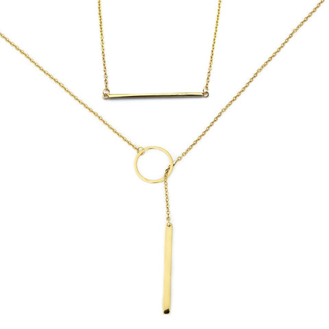 Yellow Gold Tone Sterling Silver Bar and Open Circle Lariat Necklace Set