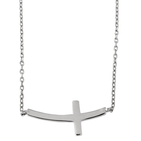 "Beauniq Solid Sterling Silver Rhodium Plated Curved Sideways Cross Pendant Necklace, 16""-18"""