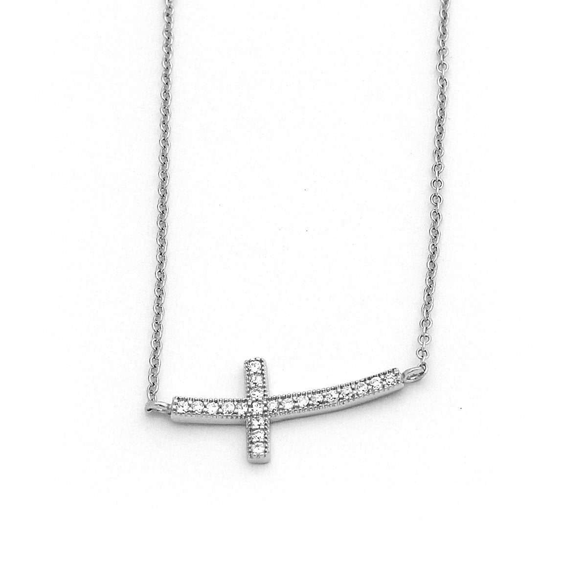 Mireval Sterling Silver Passion Cross Charm on an Optional Charm Holder