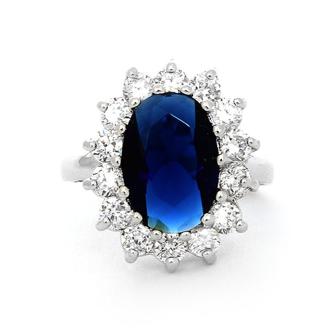 Beauniq Solid Sterling Silver Rhodium Plated Simulated Blue Sapphire and Cubic Zirconia Halo Ring, Size 5