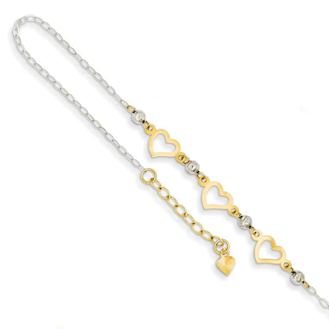 14k Yellow and White Gold Two Tone Diamond Cut Beaded Open Heart Anklet, 9 Inches - 10 Inches
