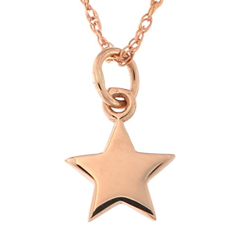 14k Yellow White or Rose Gold Tiny Star Pendant Necklace