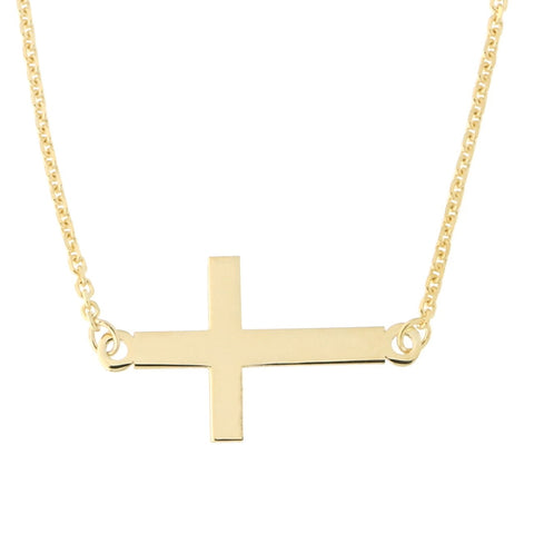 "Beauniq 14k Yellow Gold Sideways Cross Necklace, 16""-17""-18"""