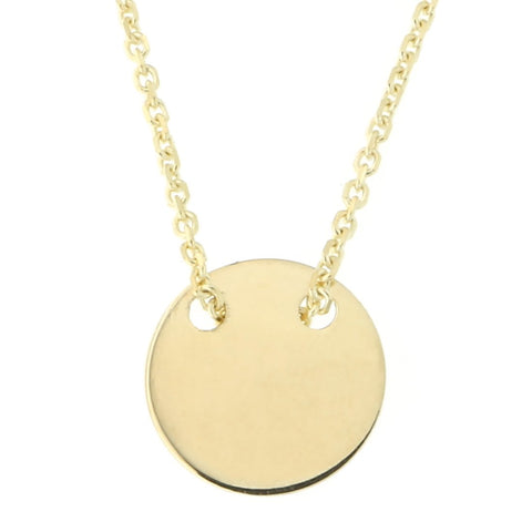 "Beauniq 14k Yellow Gold Small Engravable Disc Necklace, 16""-17""-18"""