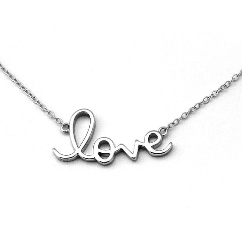 "Solid Sterling Silver Rhodium Plated""Love"" Pendant Necklace, 16"""