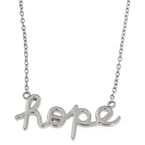 Beauniq Solid Sterling Silver Rhodium Plated Hope Pendant Necklace, 16""